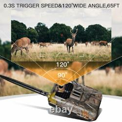 4G LTE MMS SMS Trail Camera Game Cam 1080P Hunting Camera Scouting + Solar Panel