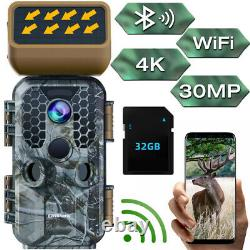 4K 30MP Solar Trail Hunting Camera WiFi Bluetooth Outdoor Game Cam NIght Vision
