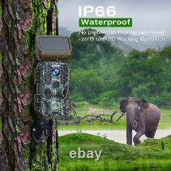 4K Solar Panel Trail Camera 30MP Hunting Cam Wildlife Scouting Cam Night Vision