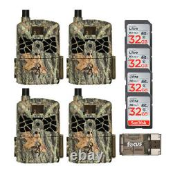 Browning Defender Pro Scout Cellular Trail Camera (4-Pack) with SD Cards Bundle