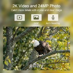 Campark 2K Rechargeable Trail Camera 24MP WiFi Solar Wildlife Hunting Game Cam