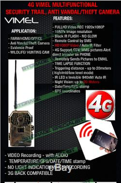 Home Security Camera 4G Trail Hunting Scouting Cam Wireless IR 3G