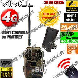 Hunting Camera 4G Trail Solar Panel Home Security Wireless IR No3g