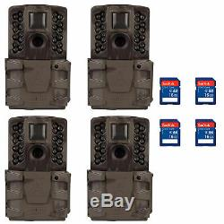 Moultrie A-40 Pro 14MP Low Glow Infrared Game Trail Camera with SD Card (4 Pack)
