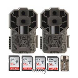 Stealth Cam DS4K 30MP Trail Camera Brown 2 pack with 4 16GB Card and Reader
