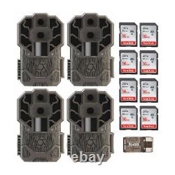 Stealth Cam DS4K 30MP Trail Camera Brown 4 Pack with Eight 16GB Card and Reader