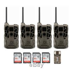 Stealth Cam XV4WF 30MP Wi-Fi and Bluetooth Trail Camera 4-Pack with 32Gb Cards